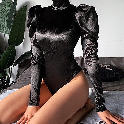 Stephanie Sexy Satin Turtleneck Long Puff Sleeve Bodysuit