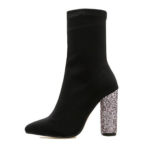 Perfect Glittered Chunky Heel  Stretch Fabric Ankle Boots
