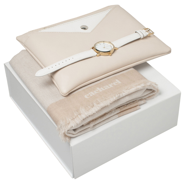 Kit cachecol, bolsa e relógio.