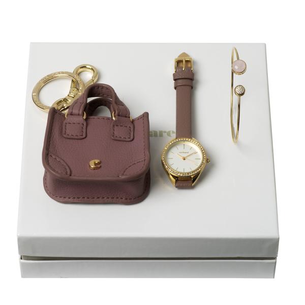 Kit pulseira, chaveiro e relógio.