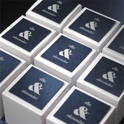 Custom Monogram Tags & Favor Boxes