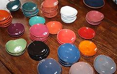 Coupelles céramiques colorées réalisées par Hoog Rachel atelier la lézarde