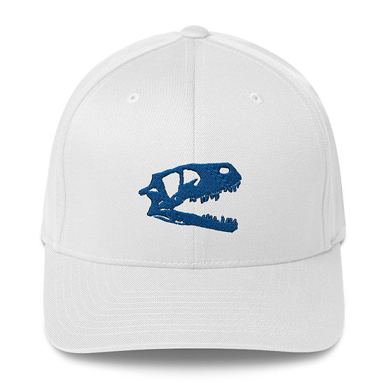 Edward Cope Dino Skull Fitted Structured Twill Cap (Royal Blue) 3D Puff