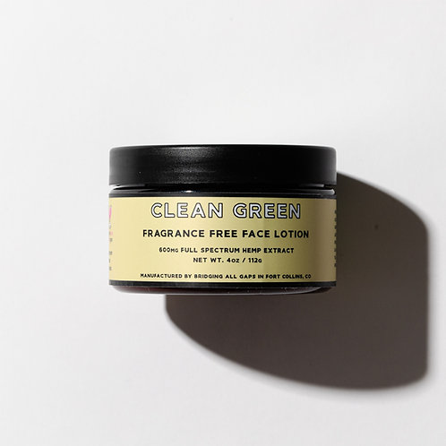 Clean Green Face Lotion with Aloe Vera, Cucumber, Green Tea and Hemp Seed Oil
