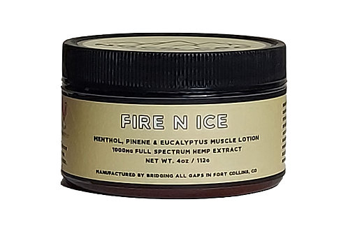 Fire N Ice Pain Lotion w Menthol, Eucalyptus, Pinene and Peppermint.