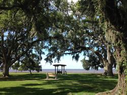 Mandeville Lakefront arbor and swing photo courtesy LouisianaNorthshore.com