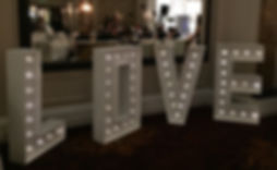 "Light-up LOVE letters sign 44"" hire hertfordshire"