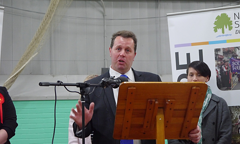 Sherwood MP Mark Spencer makes a speech after holding his seat