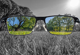 Through glasses frame. Colorful view of