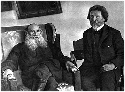 L. N. Tolstoy with I. E. Repin