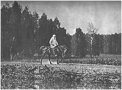 L. N. Tolstoy fording the Voronka