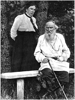 L. N. Tolstoy with his daughter