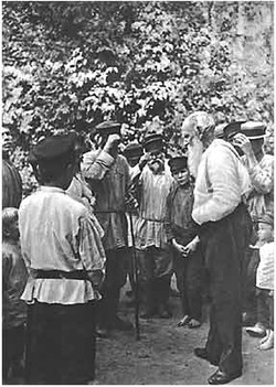 L. N. Tolstoy among peasants