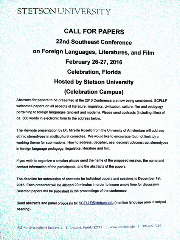 22nd Southeast Conference on Foreign Languages, Literatures, and Film