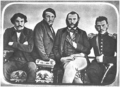 L.N. Tolstoy with his brothers