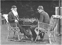 L. N. Tolstoy playing chess