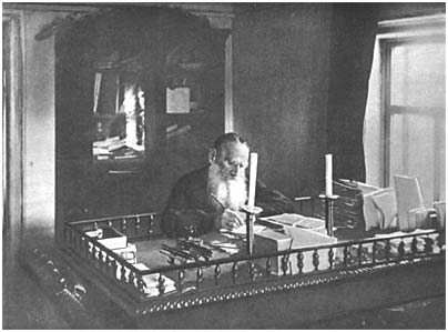 L. N. Tolstoy in his study