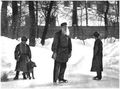 L. N. Tolstoy skating in his garden