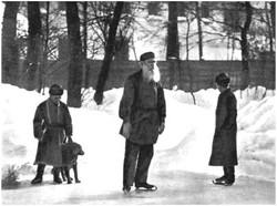 L. N. Tolstoy skating in his garden