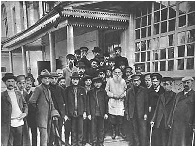 L. N. Tolstoy with students