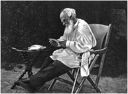 L. N. Tolstoy going over his morning