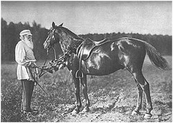 L. N. Tolstoy with his beloved horse