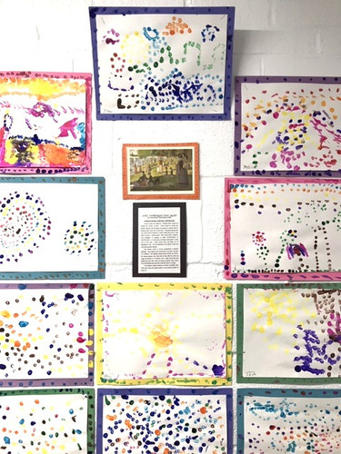 "Inspired by Georges Seurat, dots, dashes, and other ""parts"" make a greater ""whole."" Pointillism is characteristic of Post-Impressionism."