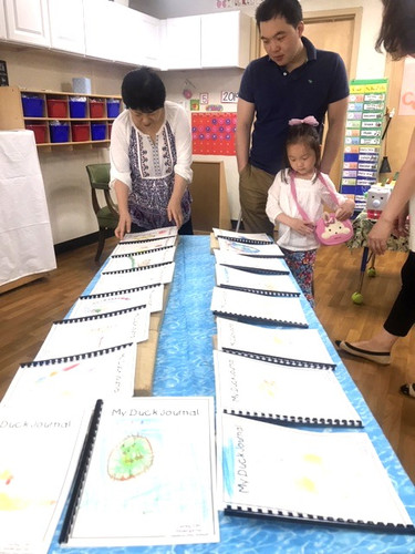 Kindergartners showcase projects from throughout their year in the Kindergarten Learning Cottage. Let's hear it for Duck Journals! Scientific observation comes to life through illustration of ducklings and their habitat.