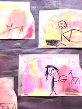 Prehistoric people draw on cavewalls. . . So do our 5 year olds in a discovery of media and form.