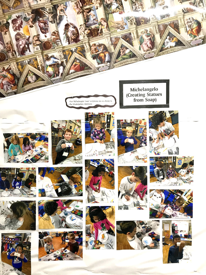 We become Michelangelo by sculpting with soap and drawing/painting on the ceiling.