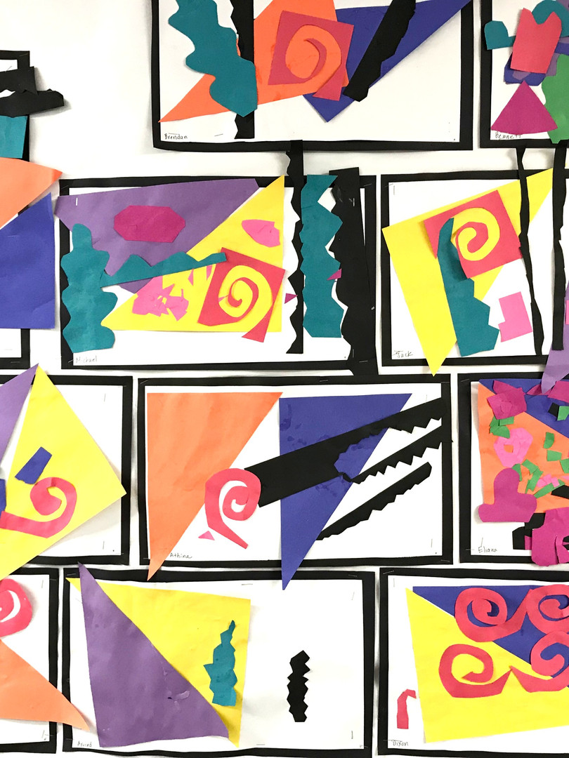 Vivid cut-outs and colors evoke the work of Henri Matisse.