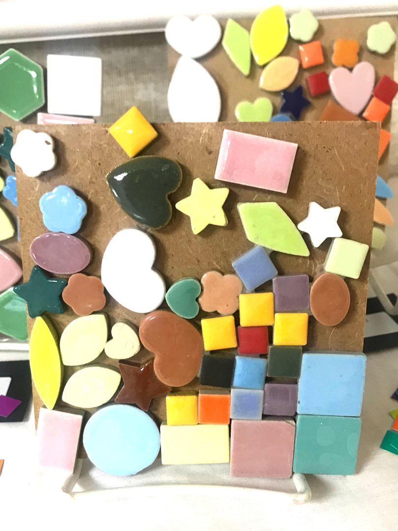 """This tile mosaic evidences attention to """"like"""" shapes."""