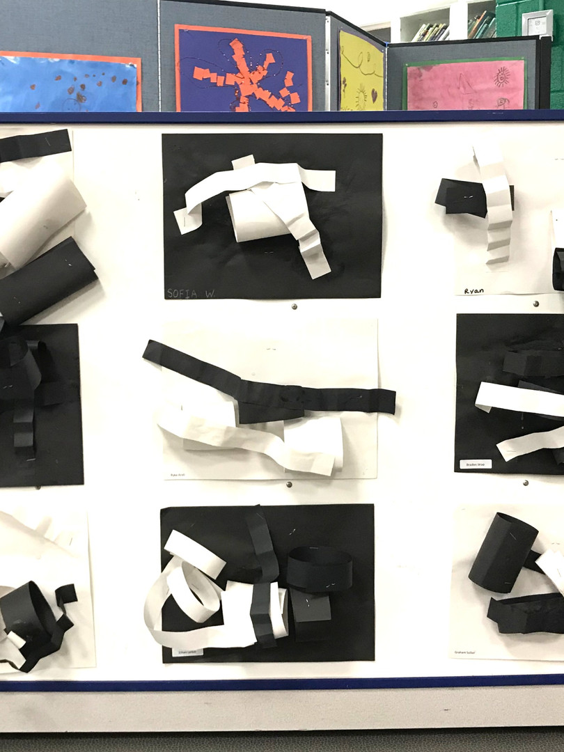Black and white values in 3-D decorate the Art Show's main gallery.