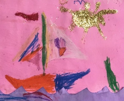Color acquires verve in this sweet seascape. Would a mermaid be diving from the prow?