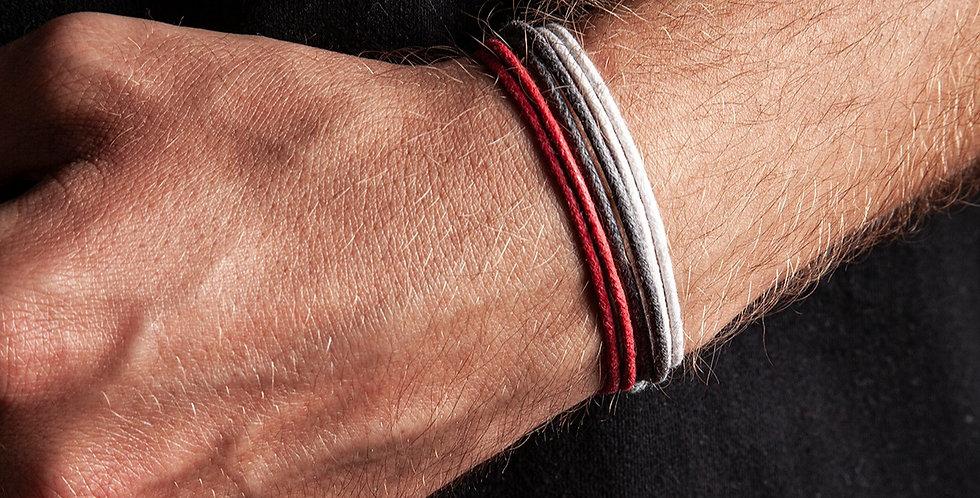 3lü Kalın Bileklik - Beyaz, Gri, Kırmızı