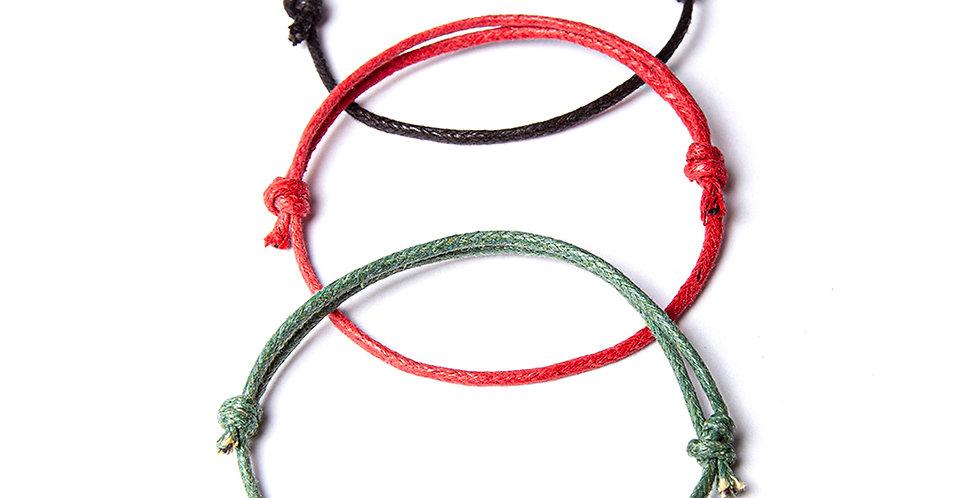 3lü Kalın Bileklik - Yeşil, Kırmızı, Siyah