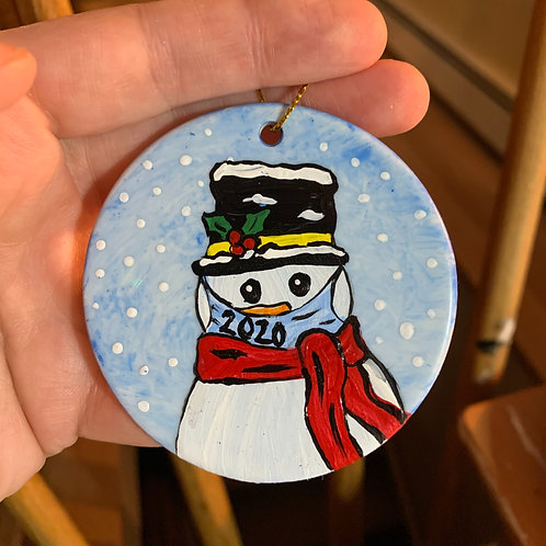 Hand painted 2020 snowman ornament