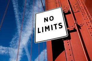 NO LIMITS motivational message written o