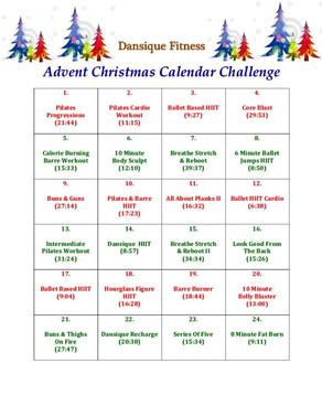 Dansique Fitness Advent Christmas Calendar Challenge