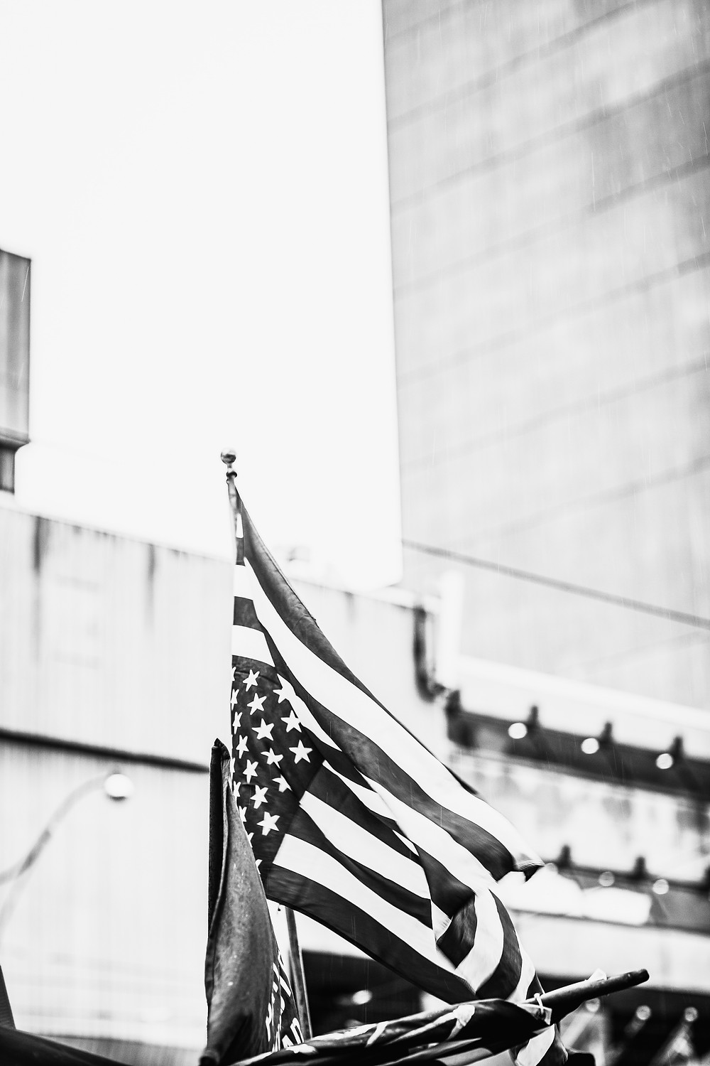 American flag against a building