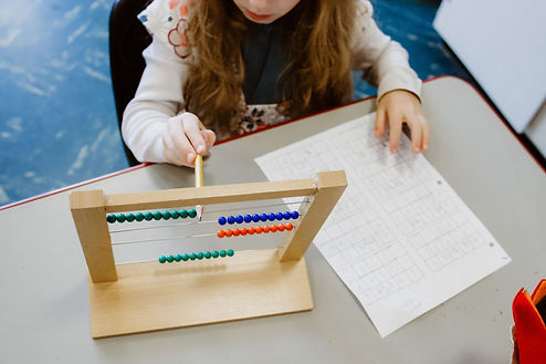 student using abacus