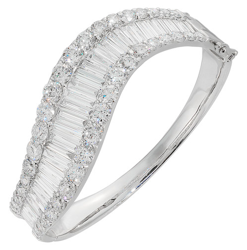 p diamond and w white gold bangles alternating v baguette t ct in bracelet bangle round tw
