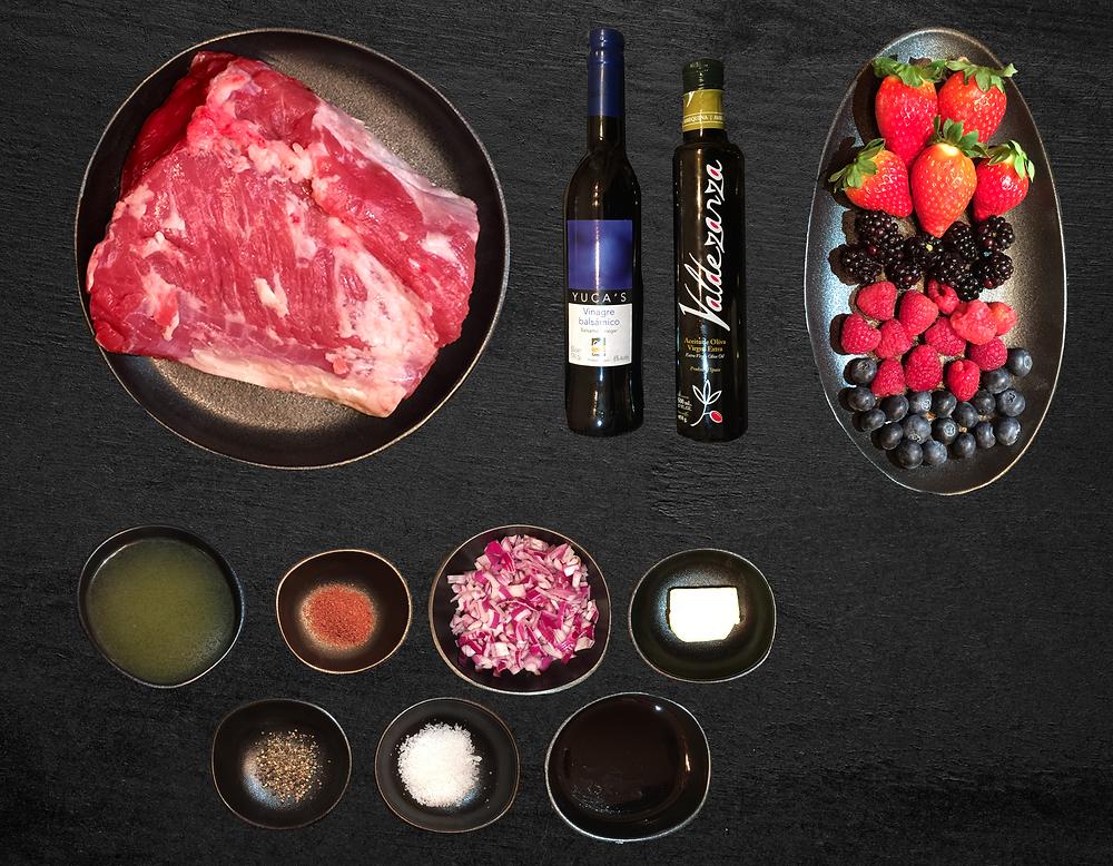 Ingredientes croca de ternera gallega con salsa de frutos rojos