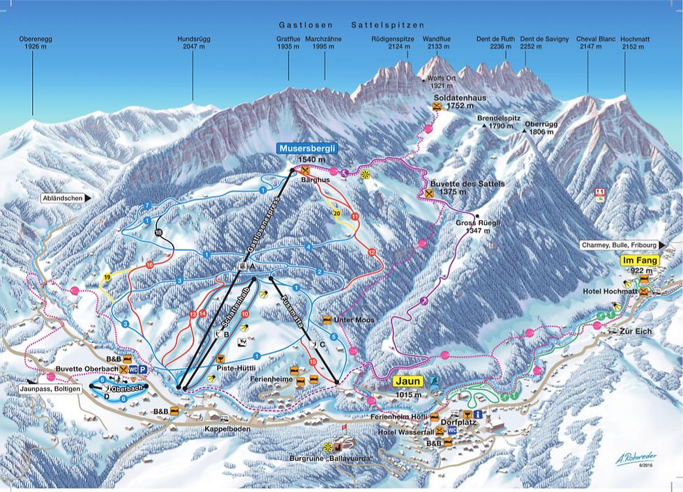 Pistenplan Skischule Jaun Dorf