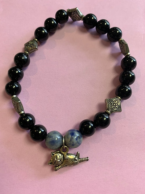 Obsidian + Sodalite Bracelet w Cat charm