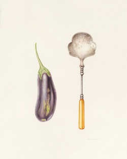 Eggplant and serving spoon
