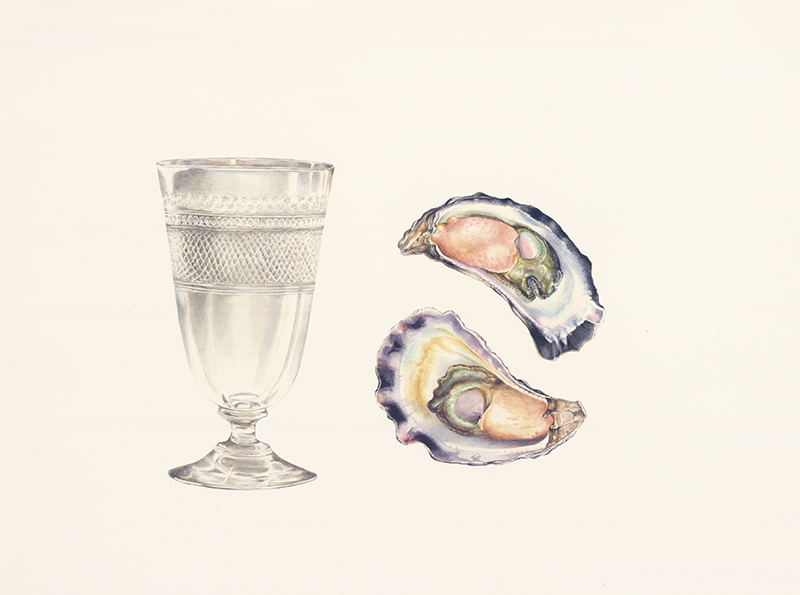 Glass and two oysters