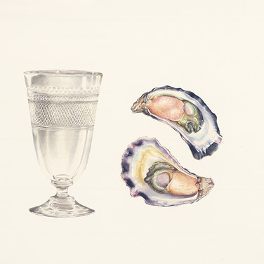 Two oysters and glass