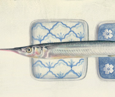 Garfish and two plates