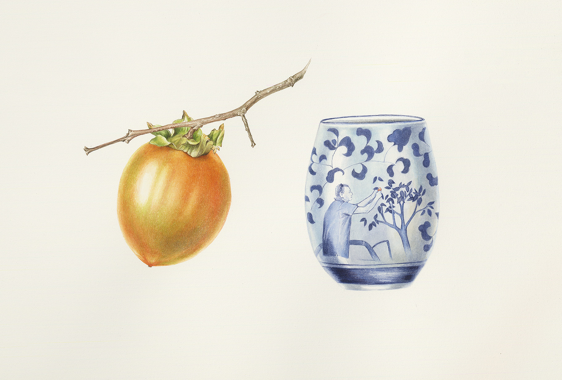Persimmon and cup